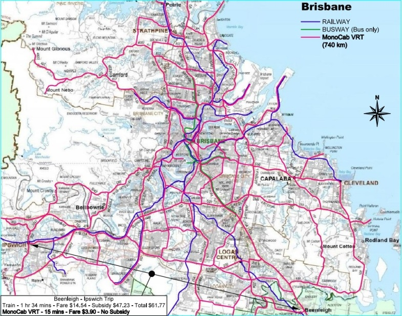 BRISBANE MONOCAB MAP